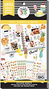me & my BIG ideas Sticker Value Pack for Classic Planner - The Happy Planner Scrapbooking Supplies - Food Theme - Multi-Color & Gold Foil - Great for Projects & Albums - 30 Sheets, 1551 Stickers