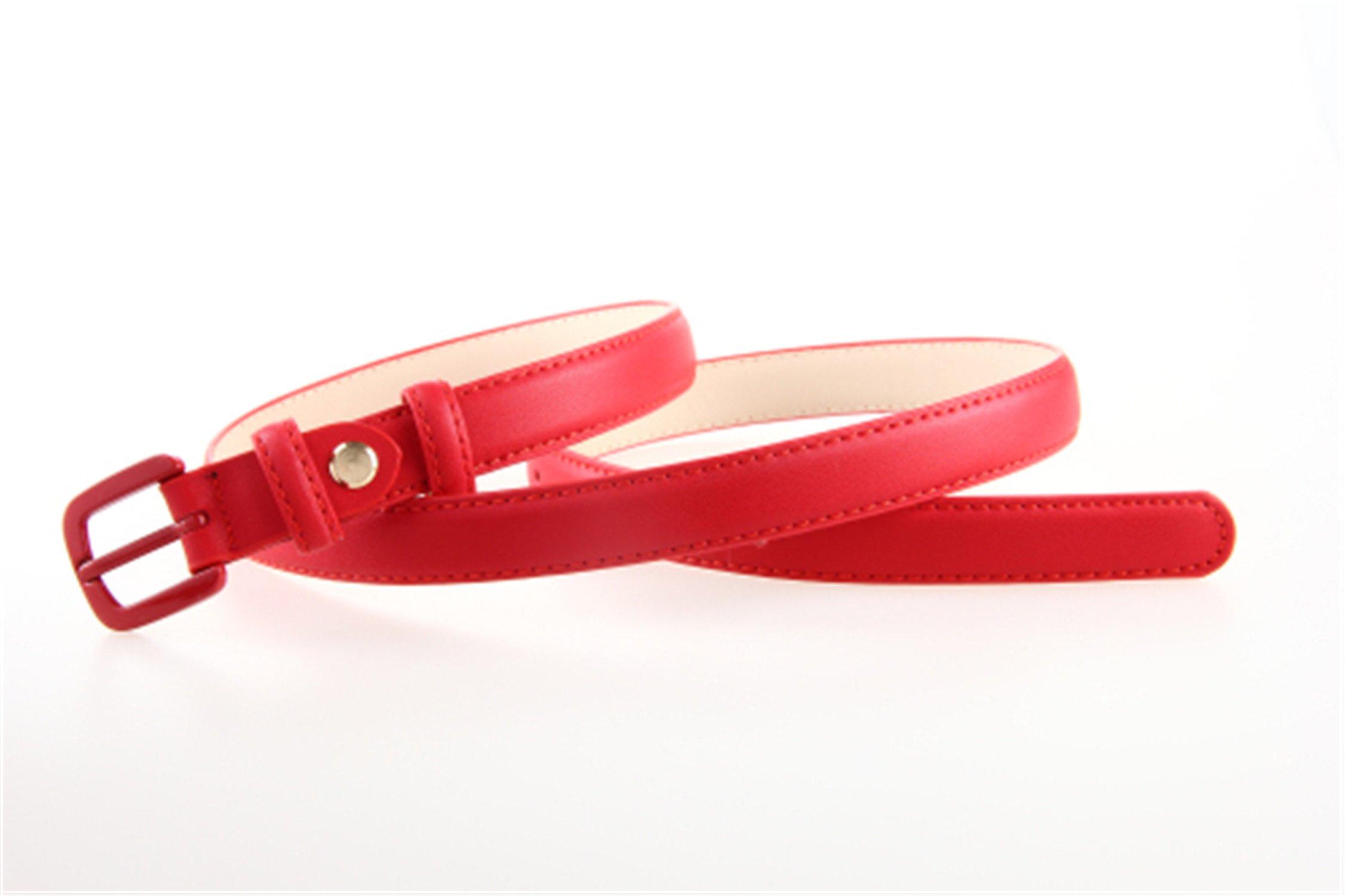 Beautifullight Hot Genuine Leather Femaleb Slim Belt Fashion Women Skinny Leather Waist Strap Blue Red Brown Black Leather Thin Belt