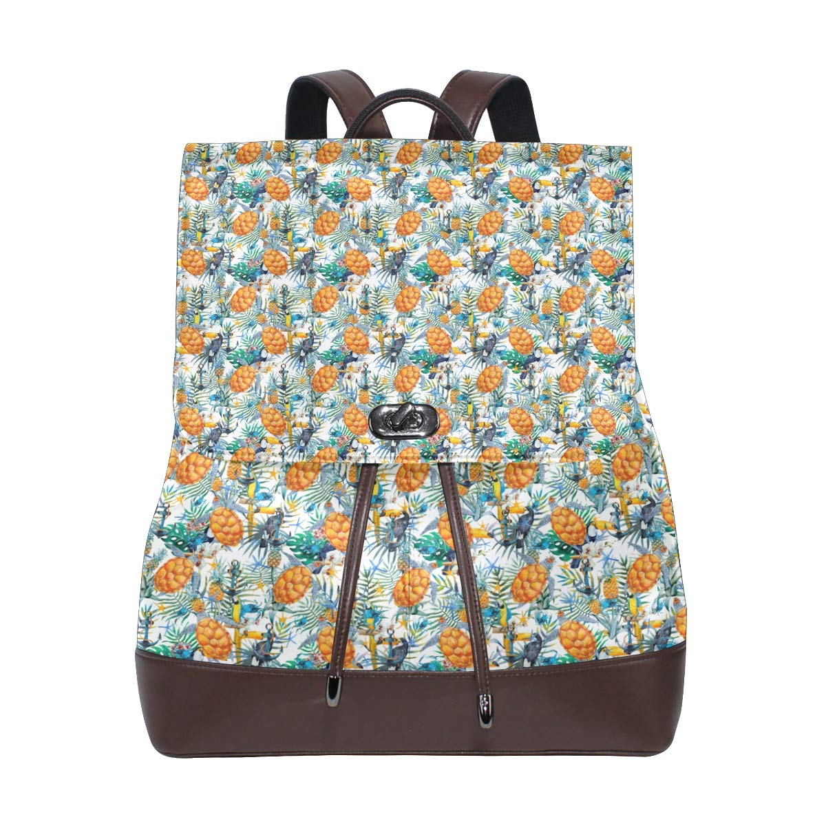 Unisex PU Leather Backpack Tropical Sunflower Print Womens Casual Daypack Mens Travel Sports Bag Boys College Bookbag