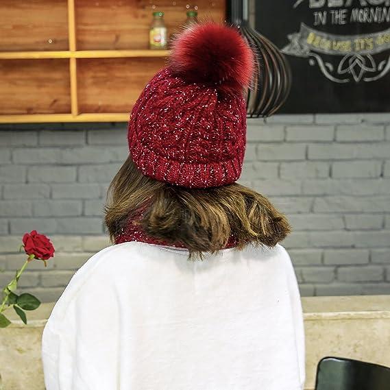38a62556a0fe iSpchen Thermique Ensemble Hiver en Tricot écharpe et Bonnet pour Femme  Fille(Vin Rouge)  Amazon.fr  High-tech