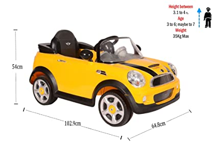 Toyhouse Mini Cooper S Rechargeable Battery Operated Ride On, Yellow Toy Cars & Trucks at amazon