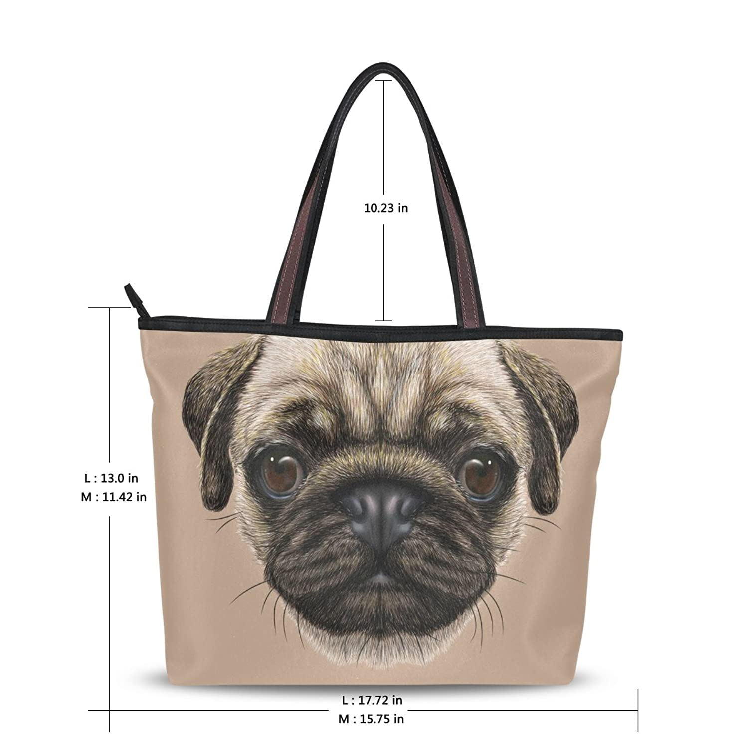 Women's School Large Handbag Shoulder Bags,Cute Pug Dog Head,Tote Bag