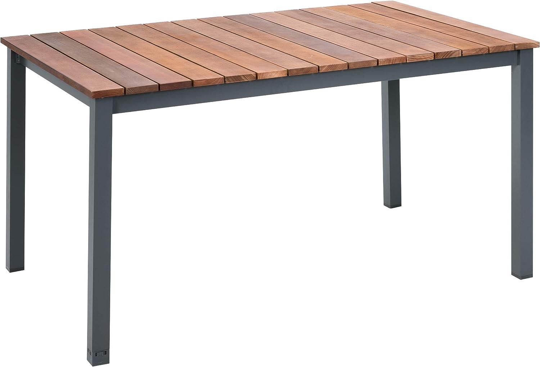Greemotion Mackay Mesa de jardín, Aluminio, Antracita/marrón, ca. 150 x 74 x 90 cm