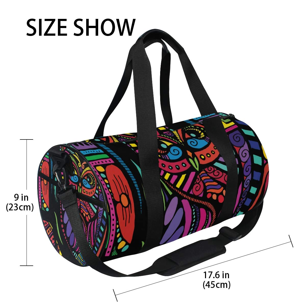 Travel Weekender Duffel Bag for Man and Woman Gym Bag with Psychedelic Ethnic Owl Print