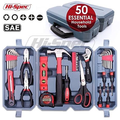 hi spec 50 pc essential homeowner s tool kit of most useful hand rh amazon com Hand Tool Storage Rack Power Tool Storage DIY