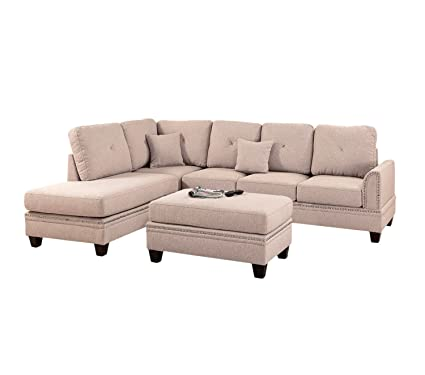 Fine Amazon Com Poundex Y651317 Bobkona Anondale Sectional With Unemploymentrelief Wooden Chair Designs For Living Room Unemploymentrelieforg