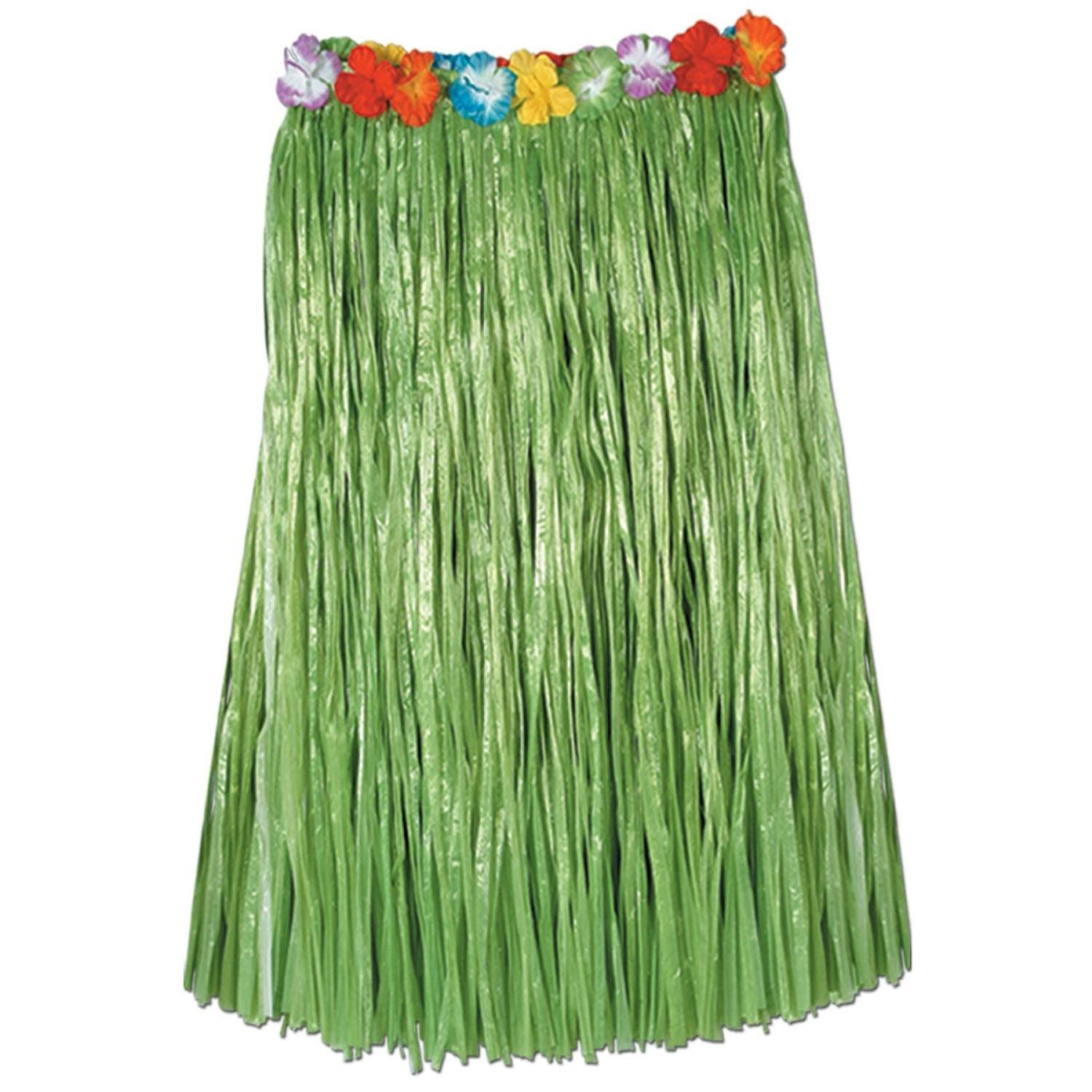 Club Pack of 12 Tropical Green Adult Sized Artificial Grass Hula Skirt 36'' by Party Central