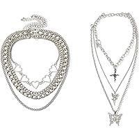 MGGFBLEY Multi-Layer Chain Necklace 2021 Fashion Egirl Eboy Jewelry Set Punk Chain Choker for Men, Women and Girls, Boys