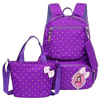 79037e87bc05 JiaYou Girl Boy Cute Lunch Bag Purse/Pencil Bag School Backpack 3 Sets  (20L, StyleC Purple)