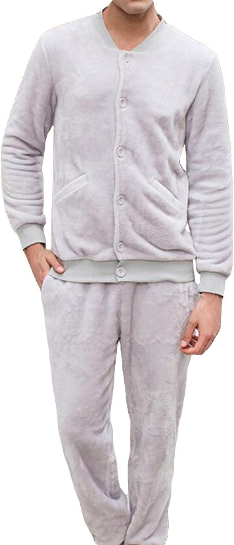 Traje De Pijamas De Traje De Pijamas De Invierno De Franela Masculino Traje De Dos Piezas