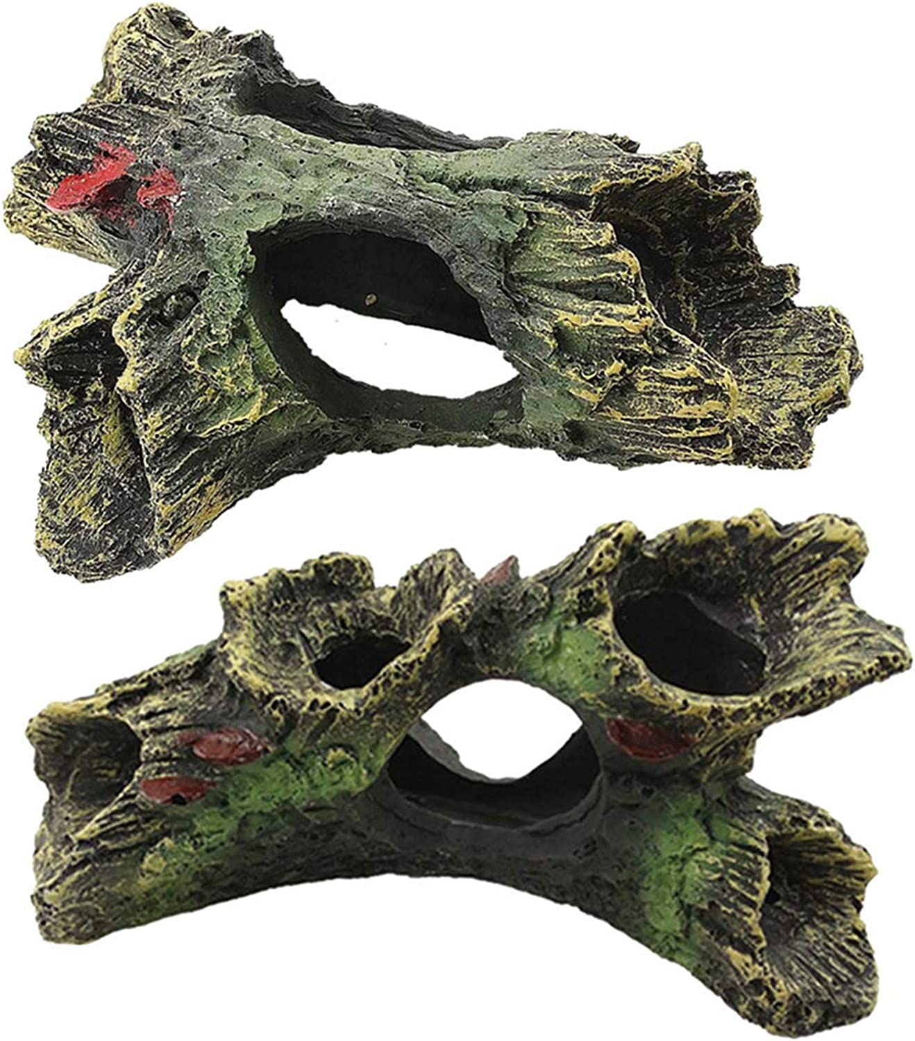 DoubleWood 2 PCS Decaying Trunk Aquarium Betta Fish Ornament Driftwood Resin Crafts Ornament for Aquarium Decoration Fish Tank Wood with Holes & Aquarium Caves Fish Tank Wood Decor