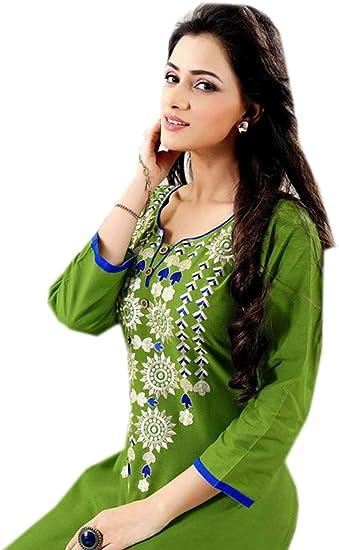 S Jayayamala Women Embroidered Designer 3//4 Sleeve Tunic top Casual Cotton Blouse