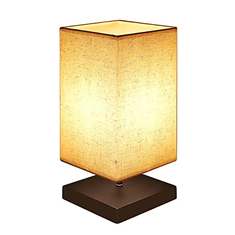B-right Bedside Table Lamp Retro Style Minimalist Desk Lamp with Solid Wooden Base Fabric Shade for Bedroom, Living Room, Baby Room, Bookcase (Square)