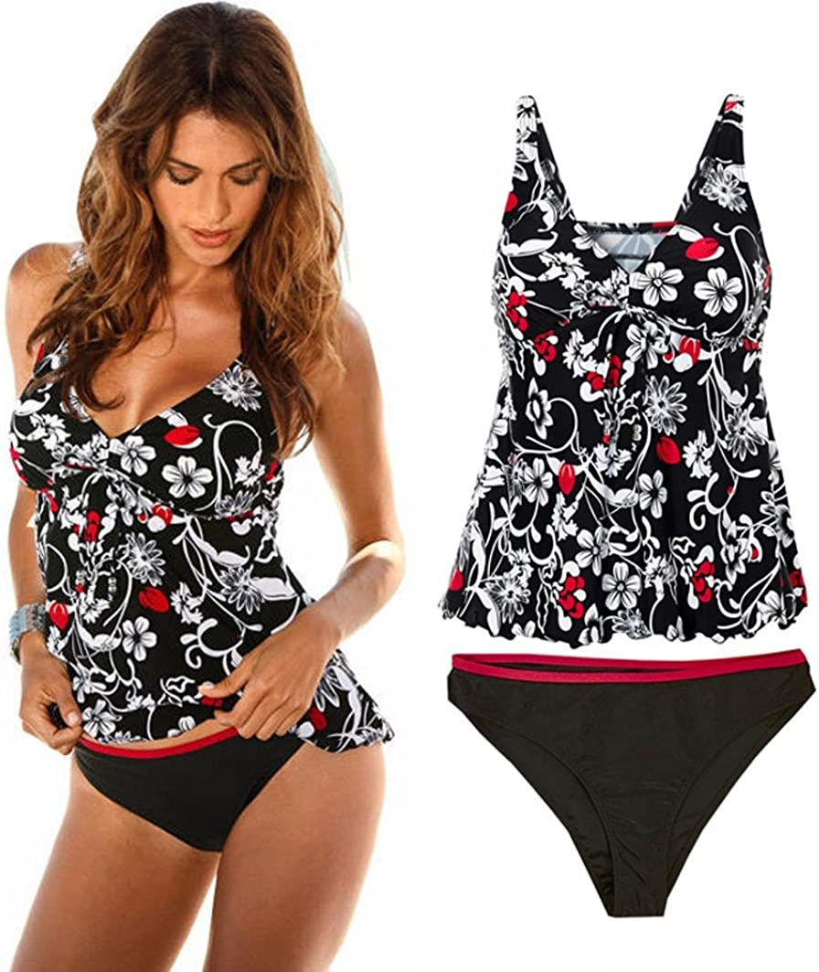 Longra Nylon Spandex Tomaia Donna Estate Motivo Floreale Wire Free Lace-Up Split Bikibi Costumi da Bagno Costume da Bagno Costumi da Bagno Tankini Bikini a Motivi Floreali