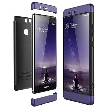 CE-Link Funda Huawei P9, Carcasa Fundas para Huawei P9, 3 en 1 Desmontable Ultra-Delgado Anti-Arañazos Case Protectora - Azul + Negro