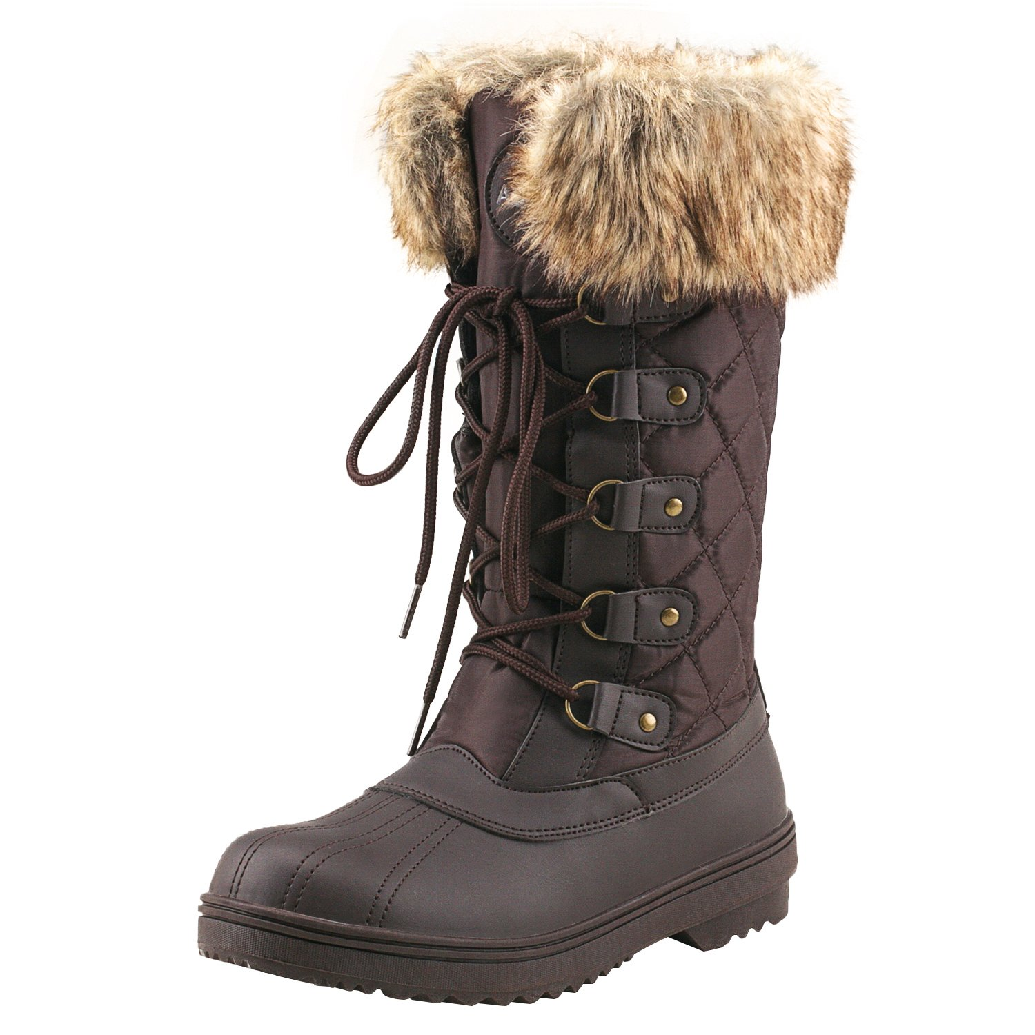 clear-cut texture the sale of shoes factory price Shenji Women's Lace-up Snow Boots Plaid Fur-Lined Winter Boots