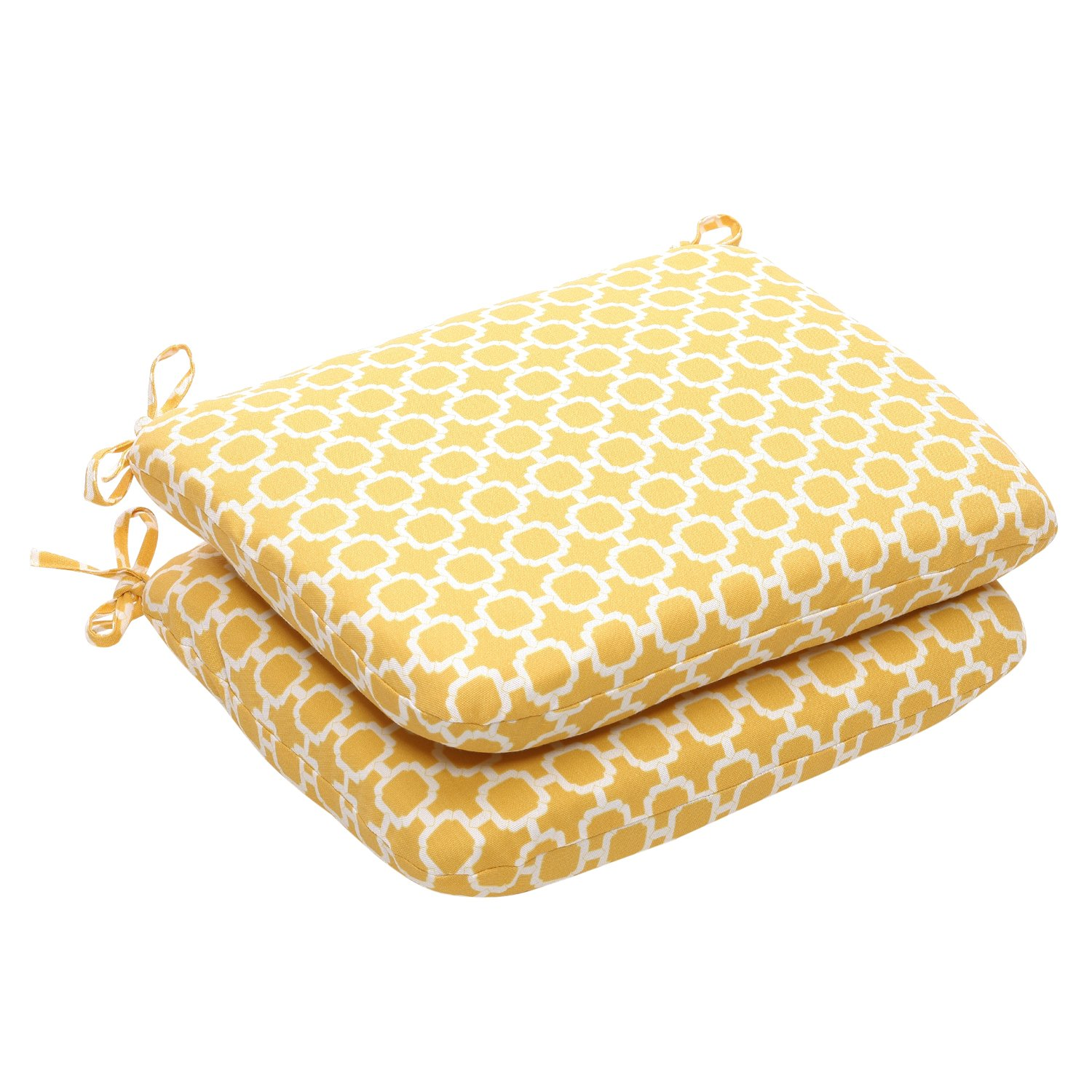 Pillow Perfect Indoor Outdoor Yellow White Geometric Round Seat Cushion, 2-Pack
