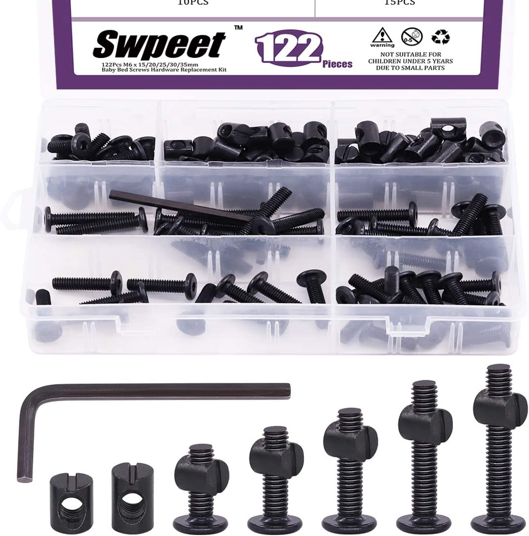 Swpeet 120Pcs Crib Hardware Screws, Black M6 × 15/20/25/30/35mm Hex Socket Head Cap Crib Baby Bed Bolt and Barrel Nuts with 1 x Allen Wrench Perfect for Furniture, Cots, Crib Screws