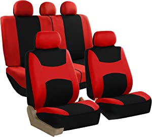 FH Group FB030115 Light & Breezy Flat Cloth Full Set Car Seat Covers Set, Airbag & Split Ready w. Gift, Red/Black- Fit Most Car, Truck, SUV, or Van