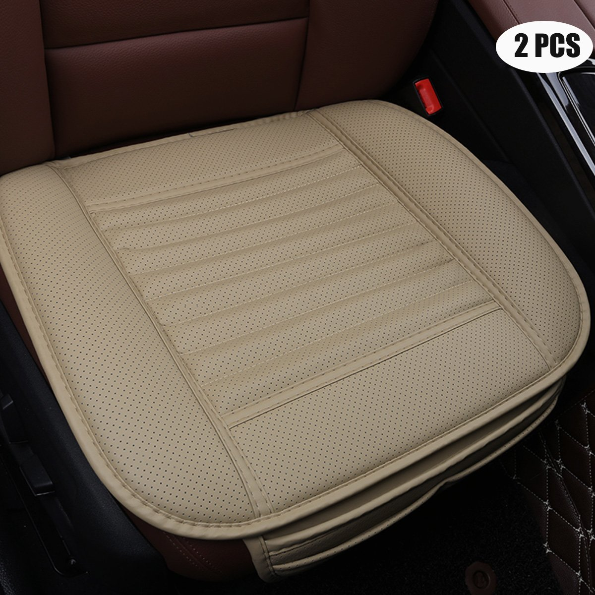 EDEALYN Four Seasons General PU Leather Comfortable Car Interior Seat Cushion Cover Pad Mat for Auto Car Supplies Office Chair,2 PCS (Beige)