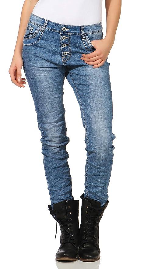 KAROSTAR Jeans Baggy Boyfriend Stretch ITALY Styles Hellblau mit Nieten