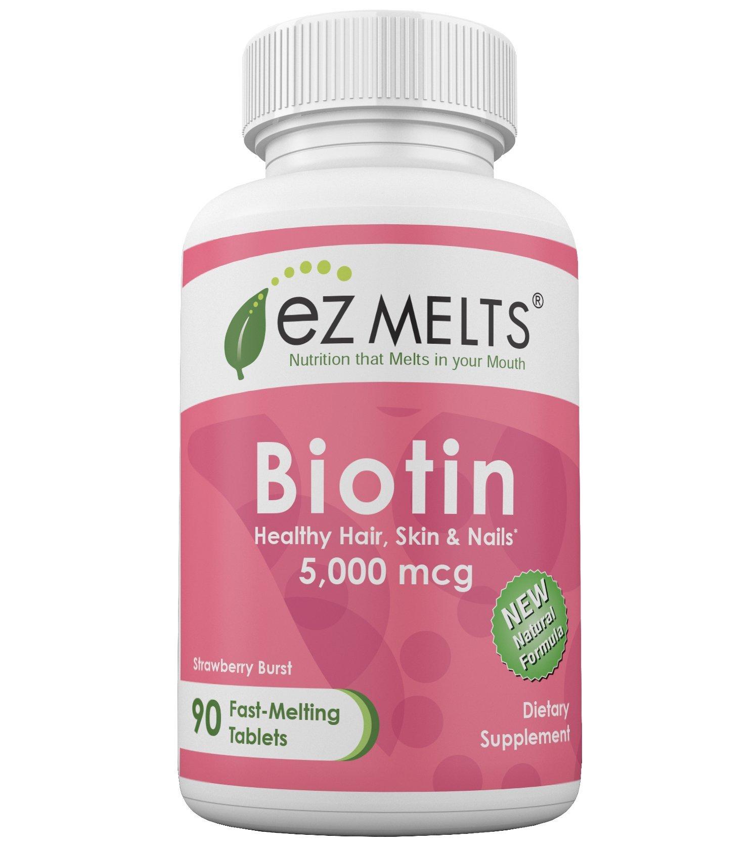 EZ Melts Biotin, 5,000 mcg, Dissolvable Vitamins, Vegan, Zero Sugar, Natural Strawberry Flavor, 90 Fast Melting Tablets, Biotin Supplement