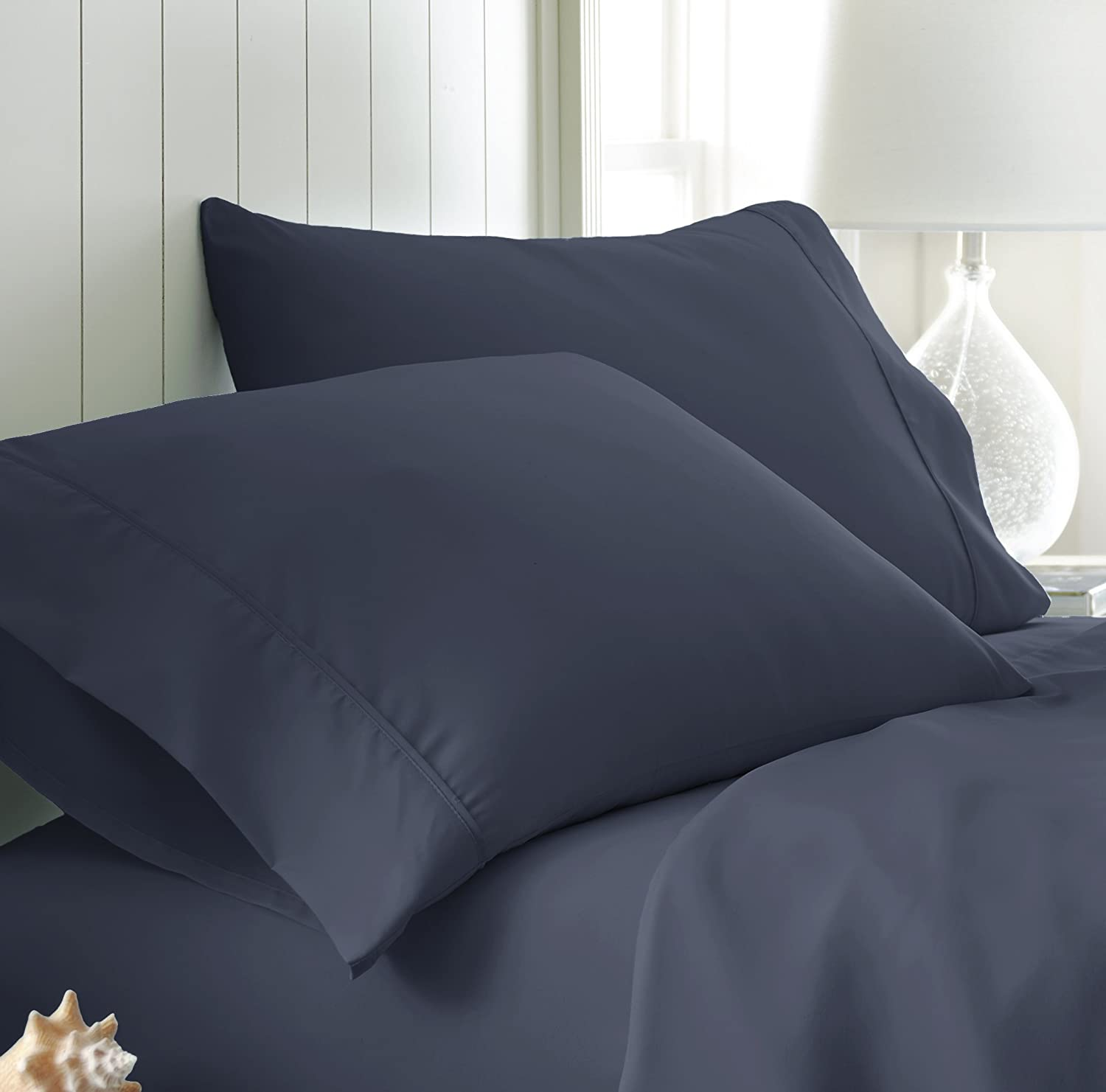 ienjoy Home IEH-PILLOWCASE-STD-NAVY 2Piece Home Collection Premium Luxury Double Brushed Pillow Case Set, Standard, Navy