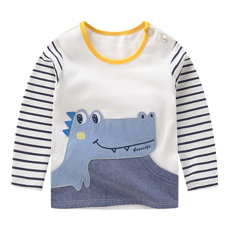 CHIC-CHIC T-shirt Manche Longue Haut Pull-over Sweatshirt Bébé Fille Garçon Enfant Top Pull Rayure Casual Mignon Souple Sport