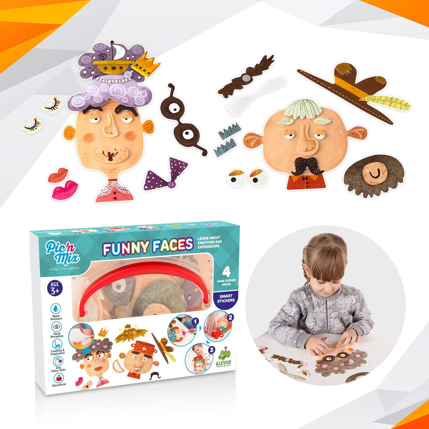 Funny Faces Puzzles for Kids   Picnmix Board Game for Toddlers 3 Years and Up. Educational Preschool Learning Toy. Fine Motor Skills Toy for Boys and Girls