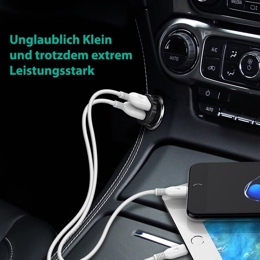 Galaxy S9 S8 Plus HTC Schwarz iPad Pro Air Mini Mp3 usw Huawei Auto Ladeger/ät RAVPower 2-Port 24W 4,8A Super Mini USB Ladeadapter mit Aluminium-Legierung Geh/äuse f/ür iPhone X XR XS Max