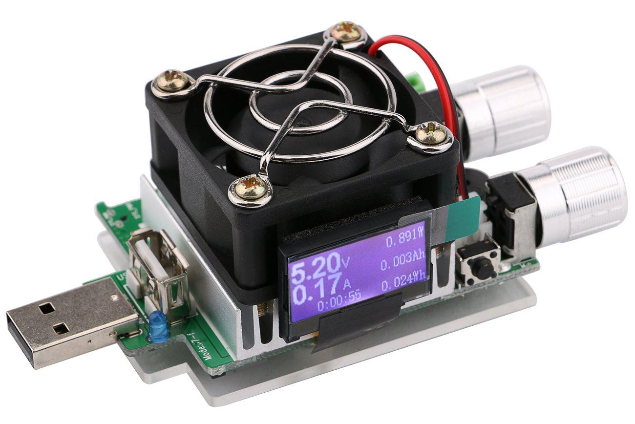 Yeeco 35W USB-Batterie laden Tester Board DC 3-21V 3A Einstellbare Konstantstrom Strom-Entlade-Widerstand fü r Spannung Strom-Monitor, Mobiles Ladegerä t Tester, Entladezeit Aging 1600040DE