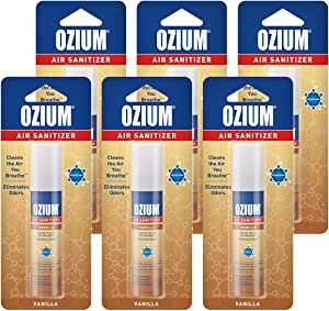 Ozium 0.8 oz. Air Sanitizer & Odor Eliminator for Homes, Cars, Offices and More, Vanilla, 6-Pack