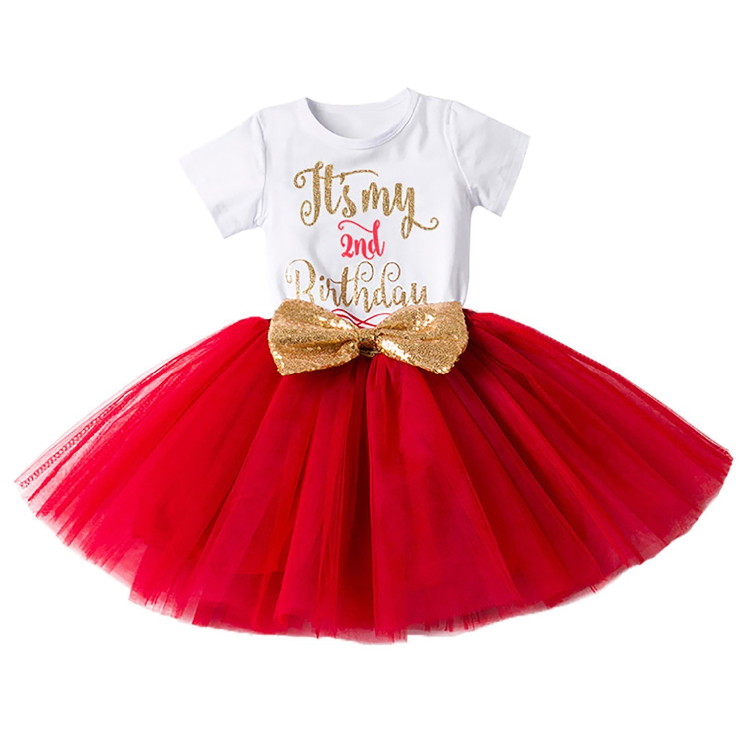 FYMNSI Baby Girls It's My 1st/2nd Birthday Cake Smash Princess Bowknot Dress