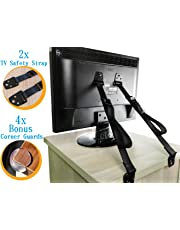 2 Pack TV and Furniture Anti-Tip Safety Straps - All Metal Parts - Heavy Duty Straps - 4 Pack Medical Grade Corner Guard included As Bonus