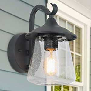 LALUZ Outdoor Light Fixtures Wall Mount, Farmhouse Black Outdoor Wall Light with Clear Seeded Glass Porch Light
