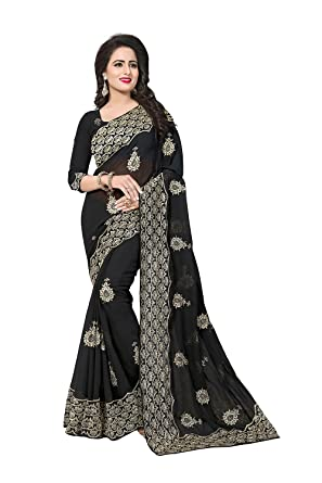 Indian Sarees for Women Party Wear Designer Black Color in Black 60 GM Georgette