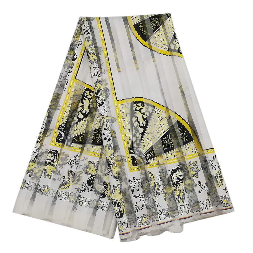 Milylace 5 Yards Ribbon Organza Ankara Fabric Fashion African Ankara Printing Ribbon Lace Fabric for Clothing by Milylace