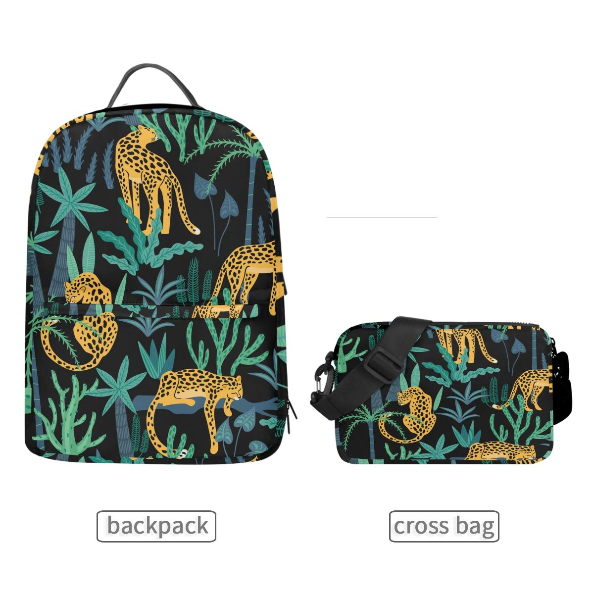 61b45f986024 Amazon.com: Backpack with Detachable Cross Bag Set Leopards Tropical ...