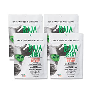 Baja Beef Jerky   2.5 oz Healthy Snack Pack Bags   Gluten Free, Keto Friendly, 25g+ Protein/Bag, Low Calorie, 100% Natural Beef, 96% Fat Free, No Added MSG/Nitrates (Street Taco)