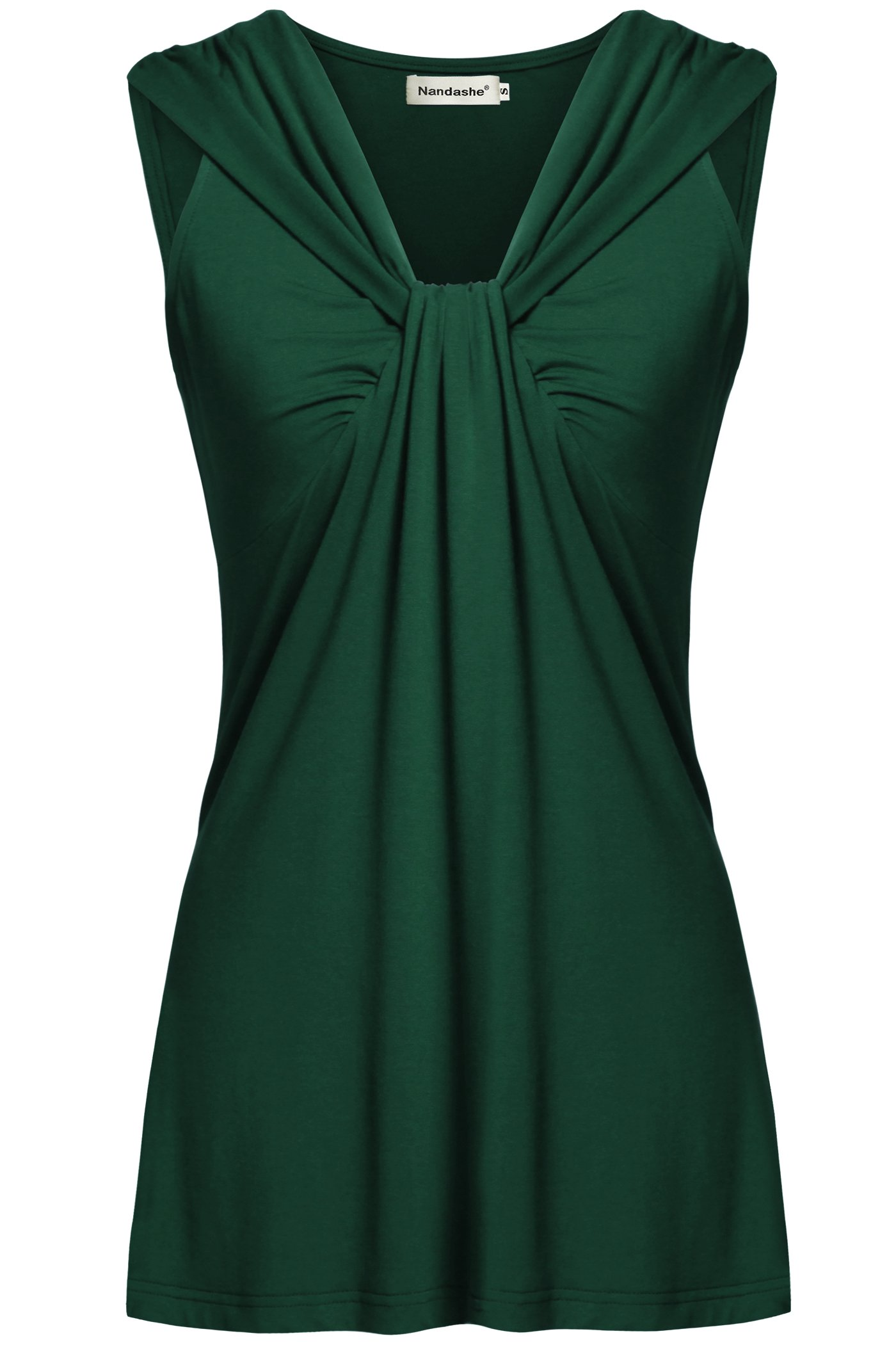 Nandashe Cami Tank Tops Women, Females Sexy Notch Neck Loose Cotton Camisoles Around The House Lightweight T Shirts Office Clothes Leggings Chic Formal Beach Stretch Tunic Cami XX-Large Green