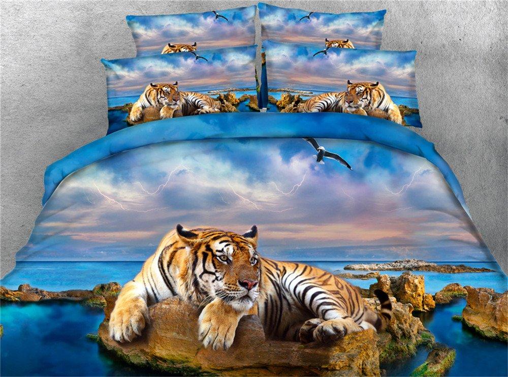 Ftyfty Luxury 3d Bedding Set 3D Yellow Tiger and Blue Ocean Eagle Digital Print 100% Cotton Boys Bed Sheet Set 4PCS Duvet Cover Set (Blue, King)