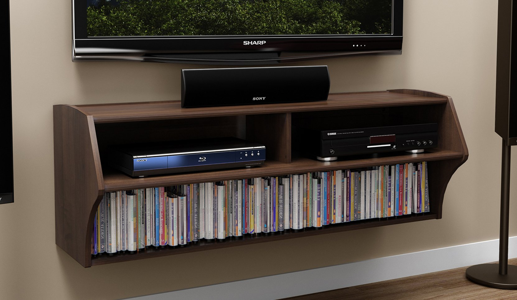 Espresso Altus Wall Mounted Audio/Video Console by Prepac