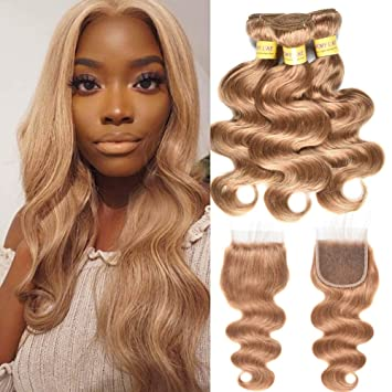 Gentle I Envy 3 Brazilian Honey Blonde Bundles With Closure Deep Wave Human Hair Bundles With Closure Colored Hair #30 Non Remy Weaves Goods Of Every Description Are Available Human Hair Weaves 3/4 Bundles With Closure
