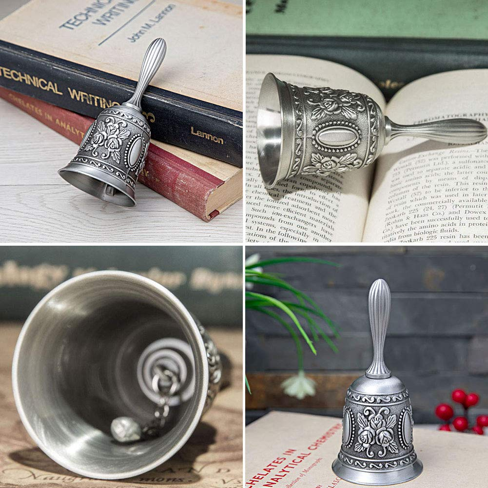 YES.YM Hand Call Bell Multi-Purpose Hand Bell for Wedding Decoration,Alarm,School Church Classroom,Bar (Silver) by YES.YM (Image #4)