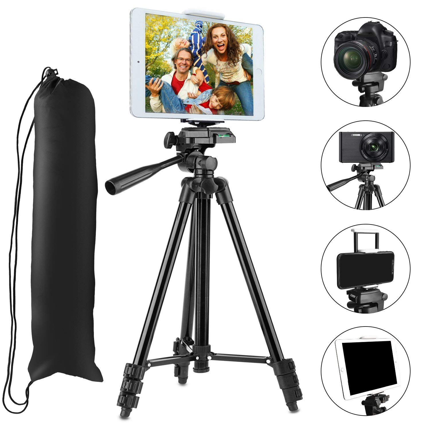 """Tripod Compatible iPad iPhone,PEYOU 50"""" inch Portable Lightweight Aluminum Phone Camera Tablet Tripod + 2 in 1 Universal Mount Holder Compatible Smartphone (Width 2-3.3""""),Tablet (Width 4.3-7.2"""")"""