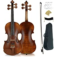 Aliyes Premium Violin 4/4 Full Size Solid Wood Violin For Beginner Violinist/Professional Student Violin Kit String…