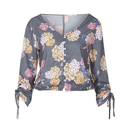 Mujer y Niña otoño fashion,Sonnena ❤ Blusa estampada floral casual de mujer con