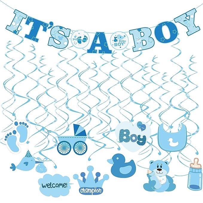 1 opinioni per Tinksky 30pcs IT'S A BOY Banner Baby Shower Dizzy Dangler Spirale Decorazione