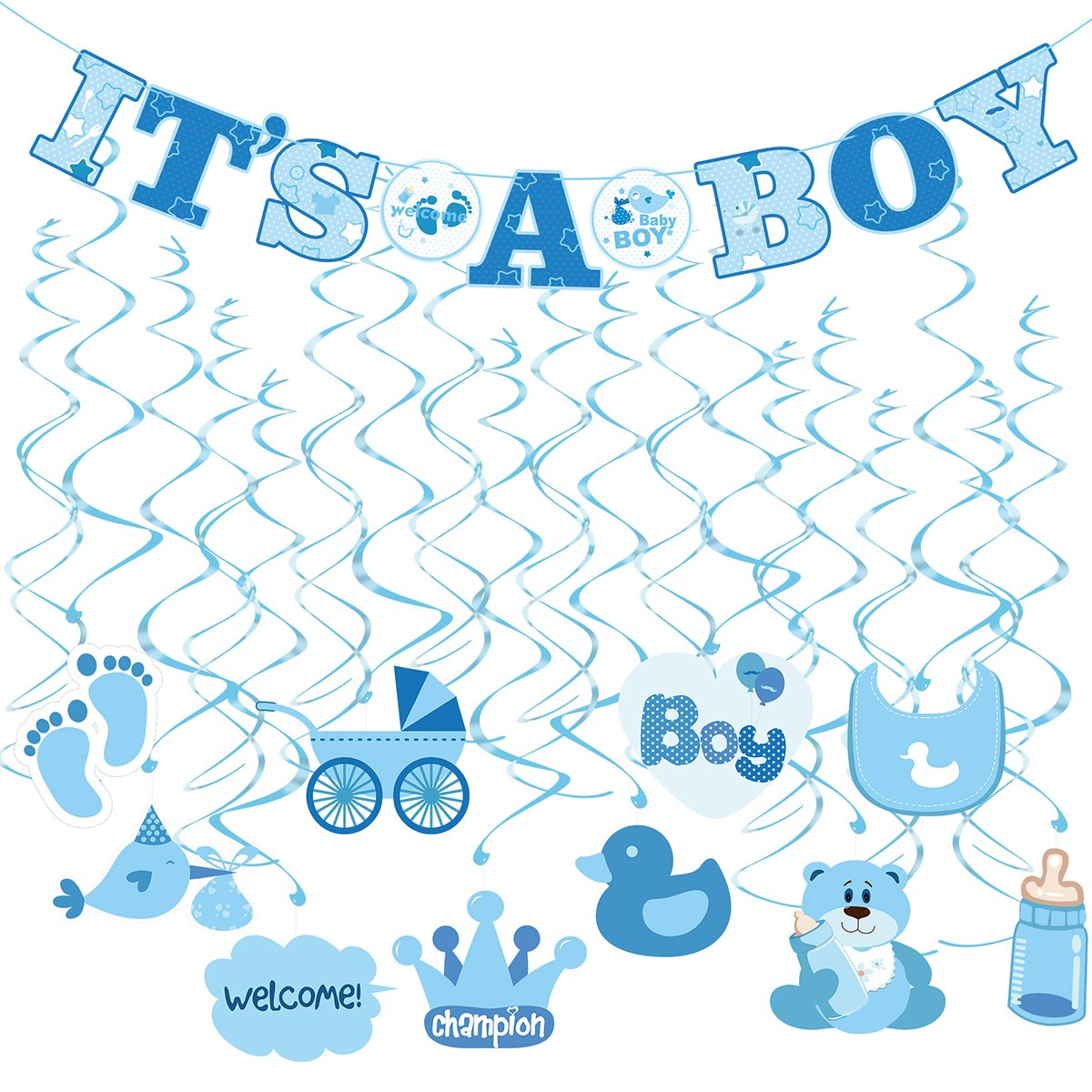 Amazon.com : Baby Shower Decorations for Boy: It\'s a Boy Banner ...