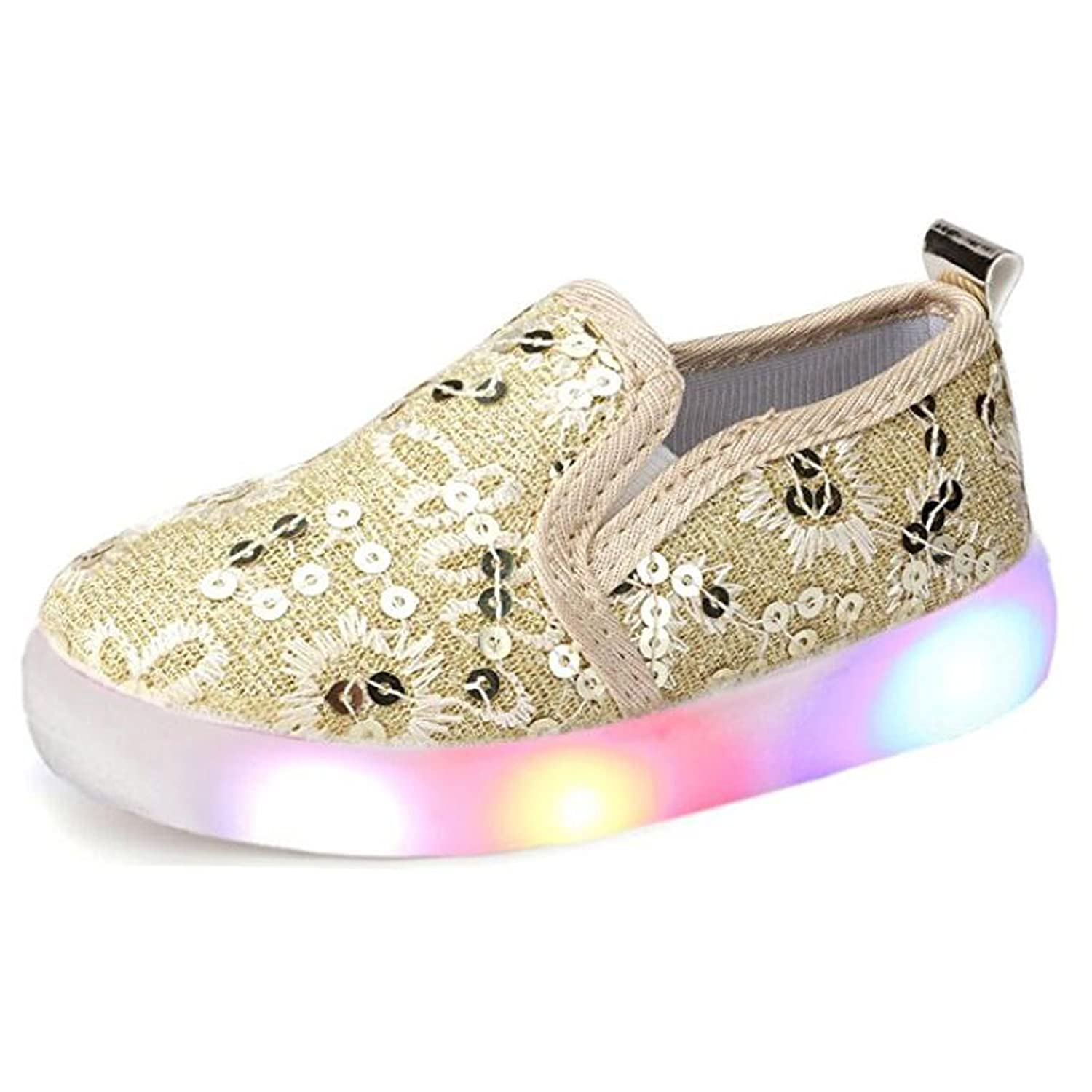 Otamise Girls' Light Up Sequins Shoes Slip-On Flashing LED Casual Loafers Flat Sneakers (Toddler/Little Kid)